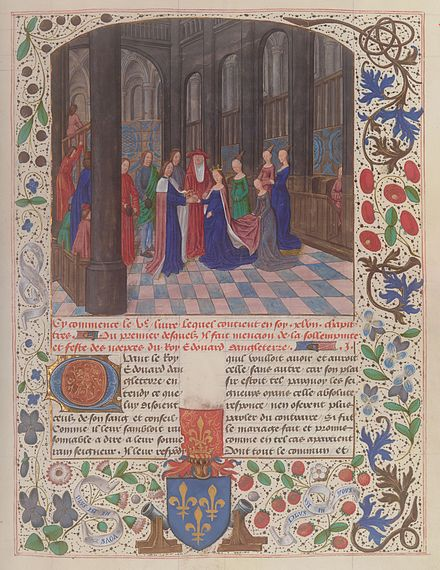Edward IV's marriage to Elizabeth Woodville, from the illuminated manuscript Anciennes Chroniques d'Angleterre, by Jean de Wavrin. Bibliotheque nationale de France, Paris. Marriage Edward IV Elizabeth Woodville Wavrin Anciennes Chroniques d'Angleterre Francais 85 f109.jpeg