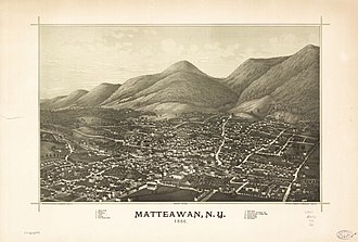 Beacon, New York - Perspective map of Matteawan and list of landmarks from 1886 by L.R. Burleigh