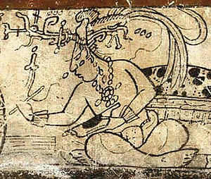 Maya maize god - Fig. 1: Tonsured Maize God as a patron of the scribal arts, Classic period