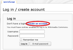 Login mask with highlighted link to account creation