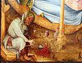 Medio reno o westfalia, altare del medio reno, 1410 ca., recto 04 natività 4 san giuseppe prepara una pappa.jpg