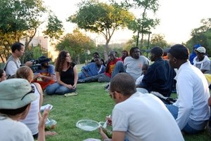 Immigration by country - Meeting between Sudanese refugees and Israeli students, 2007. In Israel only Jewish immigrants automatically acquire Israeli citizenship.