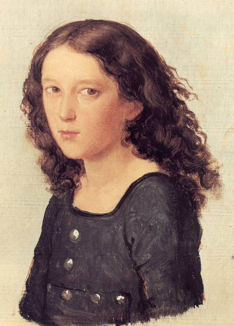 watercolour of a male child with black shoulder-length hair curling at the ends, wearing a dark blue cotton shift, body half-turned to left but subject's head facing viewer