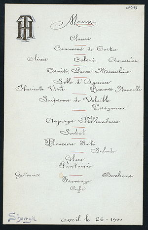 Thomas Hastings (architect) - Image: Menu farewell dinner Thomas Hastings architect