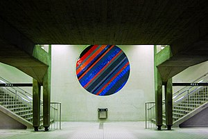 Peel station (Montreal Metro) - Ceramic Circle by Jean-Paul Mousseau.