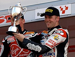 Michael Laverty gets his SuperSport championship trophy.jpg