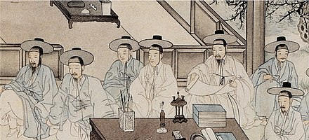 "A Joseon painting which represents the Chungin (literally ""middle people""), equivalent to the petite bourgeoisie Middle Class in Joseon.jpg"