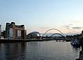 Millennium bridge and Baltic building (evening) (1162488499).jpg