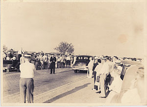 U.S. Route 180 - Dedication ceremony of brick-paved roadway between Mineral Wells, Texas, and Weatherford, Texas, in 1936. This stretch was designated as part of US 80 at the time.