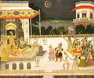 Qudsia Begum - Miniature painting showing Udham Bai being entertained with fireworks and dance (1742 CE by Mir Miran)