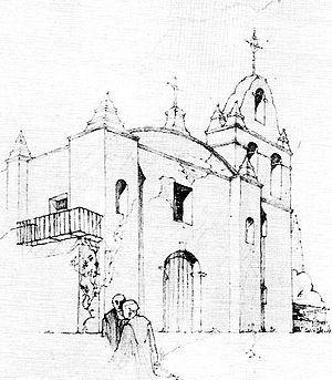 "San Gabriel, California - Artist Rexford Newcomb's rendition of Mission San Gabriel Arcángel's original campanile, or ""bell tower."""