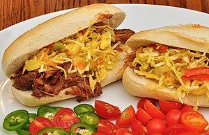 Hoagie roll - Barbecue pork sandwiches prepared with hoagie rolls