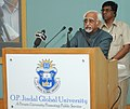 """Mohd. Hamid Ansari delivering the inaugural address at the """"Conference on Federalisms and Localisms at O.P. Jindal Global University, Sonipat and Europaeum, Oxford (U.K.)"""", at Sonipat, in Haryana on October 10, 2013.jpg"""
