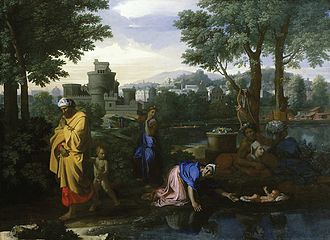 Finding of Moses - The Exposition of Moses, as his mother casts him off.  The princess's party is further down the bank. Nicolas Poussin