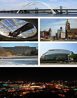 Clockwise from top: Interstate 74 Bridge, Downtown Moline, I wireless Center, the city at night, John Deere World Headquarters, a Velie Monocoupe in Quad City International Airport