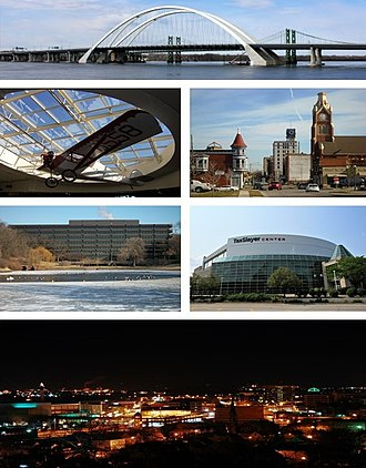 Moline, Illinois - Clockwise from top: Interstate 74 Bridge, Downtown Moline, TaxSlayer Center, the city at night, John Deere World Headquarters, a Velie Monocoupe in Quad City International Airport