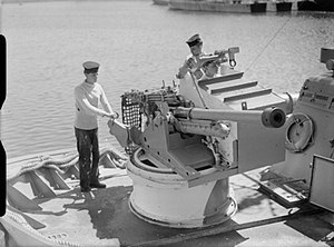 Fairmile D motor torpedo boat - Image: Molins autoloader and 6 pounder gun WWII IWM A 25162