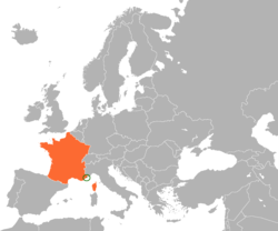 Map indicating locations of Monaco and France