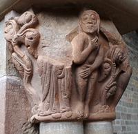 Monasterio viejo de San Juan de la Peña (RPS 19-04-2019) capitel representando la vergüenza.png