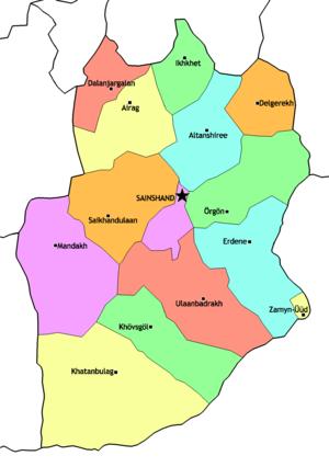 Dornogovi Province - Sums of Dornogovi Aimag