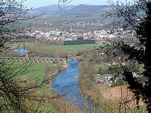 Wye Valley - Missing rail links in Monmouth, foreground Wye Valley Railway and background Ross and Monmouth Railway linked to missing Hereford, Ross and Gloucester Railway in Ross-on-Wye.