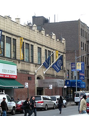 Fordham, Bronx - Looking south across Fordham Road and along Walton Avenue at Monroe College