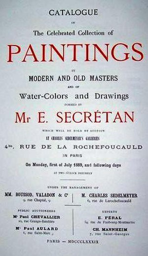 Eugène Secrétan - Catalogue of the celebrated Collection of Paintings, by Modern and Old Masters, and of Water-Colours and Drawings, formed by Mr E. Secretan, sold at Sedelmeyer's Galleries, Paris, July, 1889