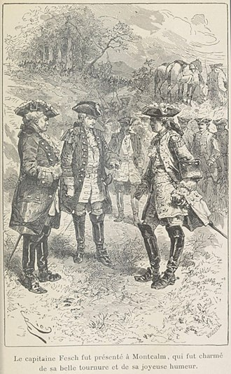 Siege of Fort William Henry - Montcalm talking with an English officer who had come to negotiate the surrender of the fort.