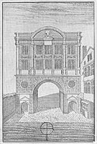 Moorgate - An engraving showing Moorgate before it was demolished in 1762