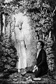 Angel Moroni altın tabakları Joseph Smith'e teslim ediyor