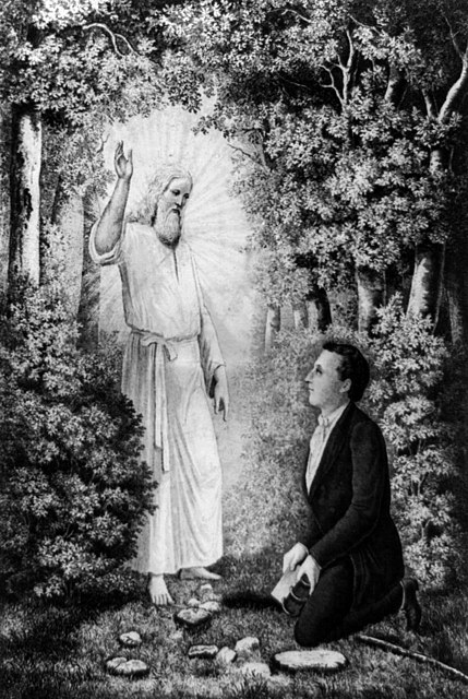 The angel Moroni delivering the plates of the Book of Mormon to Joseph Smith.