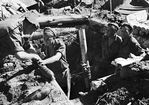 Battle of Tsimba Ridge - Image: Mortar during attack on Tsimba Ridge 1945
