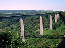 The Moselle Viaduct seen from an observation site