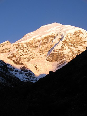 Glaciers of Bhutan - Snow-capped Mount Jomolhari in 2009 (photo by Cristopher Fynn)