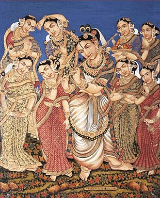 Mysore painting - Mysore Painting depicting Krishna with his eight principal wives.