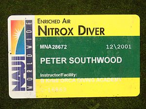 Diver certification - NAUI Nitrox diver certification card