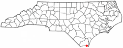 Location of Oak Island, North Carolina
