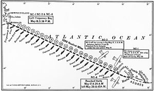 """Curtiss NC-4 - US Navy warships """"strung out like a string of pearls"""" along the NC's flightpath (3rd leg)"""