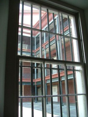 New Orleans Mint - View through a window in the old U.S. Mint showing one of the rear courtyards