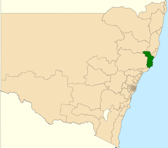 Electoral district of Myall Lakes - Location in New South Wales