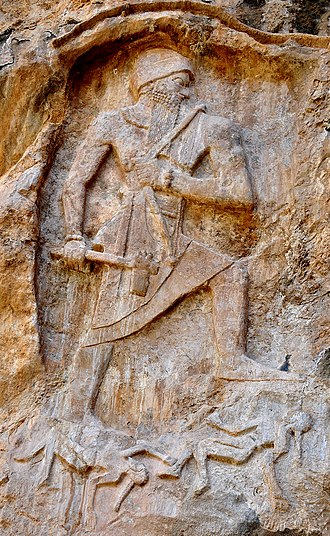 Naram-Sin of Akkad - Naram-Sin Rock Relief at Darband-i-Gawr, celabrating his victory over Lullubi king Satuni. Qaradagh Mountain, Sulaymaniyah, Iraqi Kurdistan.