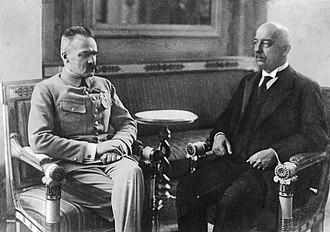 Gabriel Narutowicz - President Gabriel Narutowicz with Marshal Józef Piłsudski in Warsaw, 1922