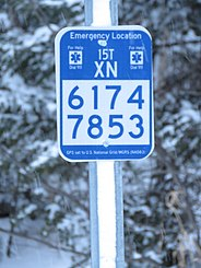 National Grid location marker for emergency location on a snowmobile trail. (27294300979).jpg