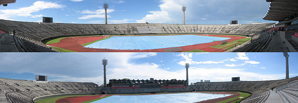A montage of National Stadium, towards the eastern entrance (top) and the western entrance (bottom).