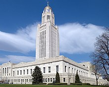 The Nebraska State Capitol in Lincoln, Nebraska