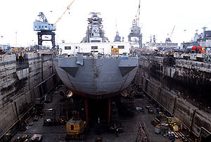 New Jersey in drydock while undergoing moderni...