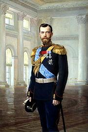 Nikolaus II. auf einem Gemälde von Earnest Lipgart.