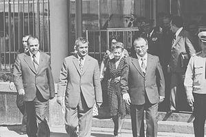 Moldavian Soviet Socialist Republic - Nicolae Ceaușescu and Ivan Bodiul in Chișinău, 1976