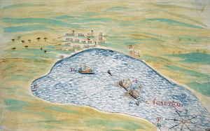 """View of the bay and city of Acapulco (1611-1632), mentioning the presence of """"a ship from Japan""""."""
