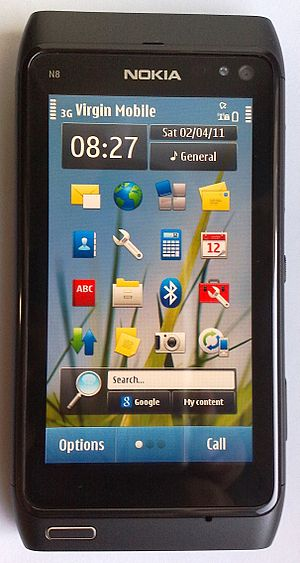 Nokia Nseries - The Nokia N8 smartphone was the world's first Symbian^3 device, and the first camera phone by Nokia to feature a 12-megapixel autofocus lens.